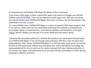 DVDFab DVD Ripper - a comprehensive and reliable tool be worth of your investment