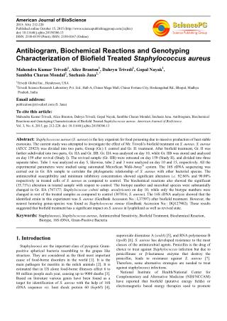 Antibiogram, Biochemical Reactions and Genotyping Characterization of Biofield Treated Staphylococcus aureus