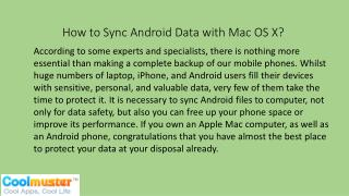 How to Sync Android Data with Mac OS X