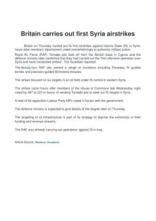 Britain carries out first Syria airstrikes