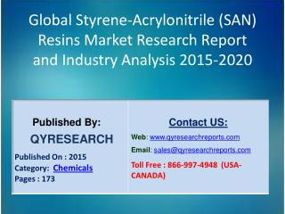 Global Styrene-Acrylonitrile (SAN) Resins Market 2015 Industry Applications, Study, Development, Growth, Outlook, Insigh