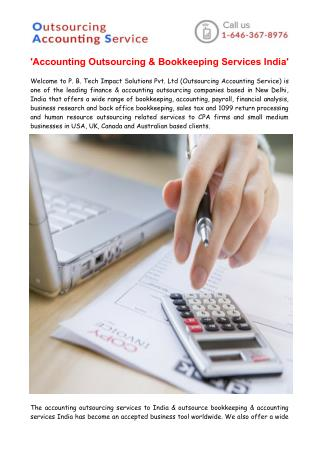 Accounting Outsourcing & Bookkeeping Services India