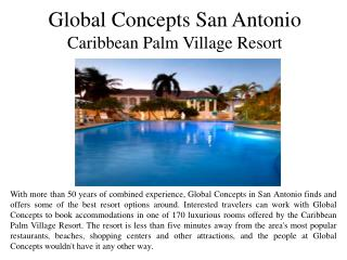 Global Concepts San Antonio Caribbean Palm Village Resort