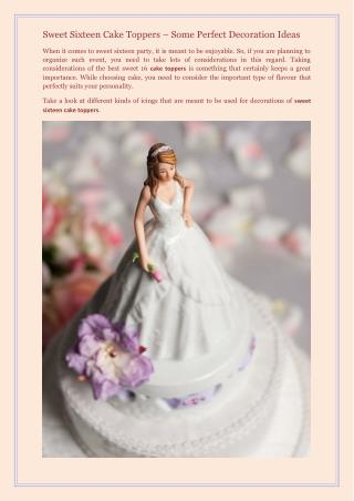 Sweet Sixteen Cake Toppers � Some Perfect Decoration Ideas
