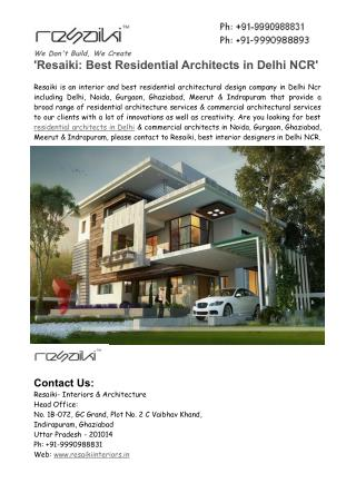 Resaiki- Best Residential Architects in Delhi NCR