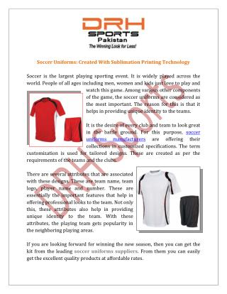 Soccer Uniforms Manufacturers, Suppliers & Exporters India
