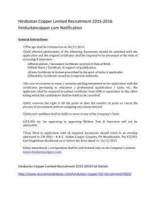 Hindustan Copper Limited Recruitment 2015-2016 Hindustancopper.com Notification