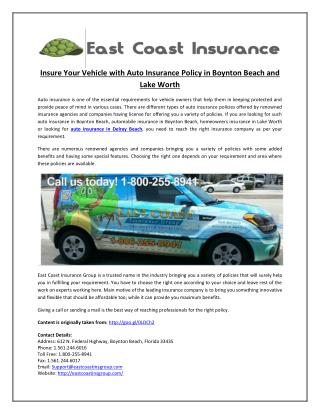 Insure Your Vehicle with Auto Insurance Policy in Boynton Beach and Lake Worth