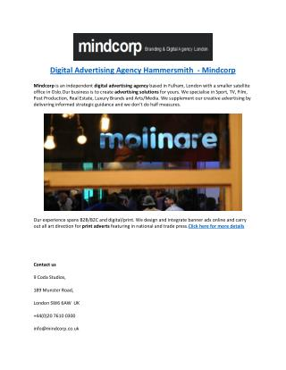 Digital Advertising Agency Hammersmith  - Mindcorp