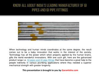 Know All About India's Leading Manufacturer of GI Pipes and GI Pipe Fittings