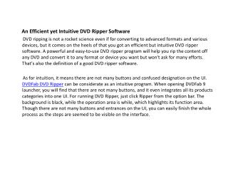 DVDFab DVD Ripper-a comprehensive and reliable tool be worth of your investment