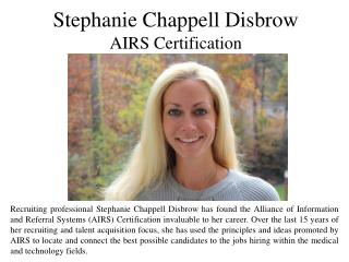 Stephanie Chappell Disbrow AIRS Certification