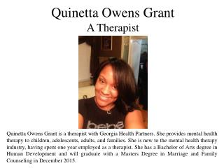 Quinetta Owens Grant  A Therapist