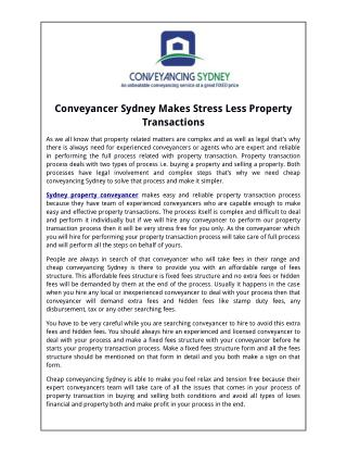 Conveyancer sydney makes stress less property transactions