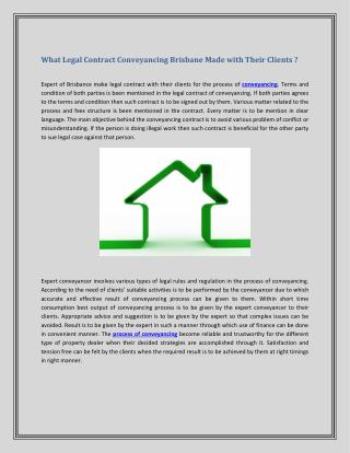 What Legal Contract Conveyancing Brisbane Made with Their Clients ?