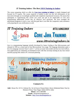 Java training Institute in Indore: IT Training Indore