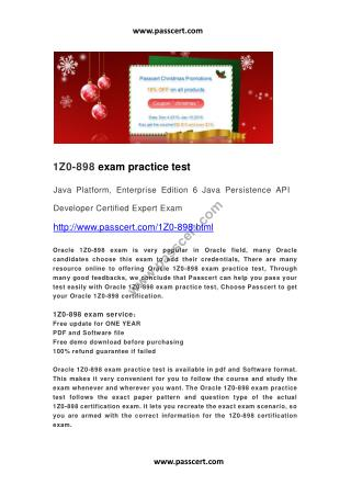 Oracle 1Z0-898 exam practice test
