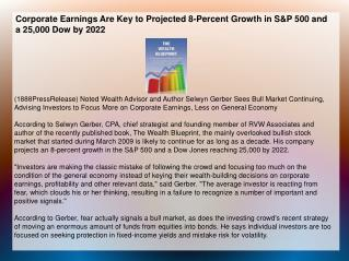 Corporate Earnings Are Key to Projected 8-Percent Growth in