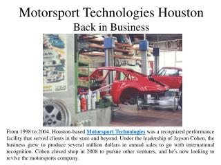 Motorsport Technologies Houston Back in Business