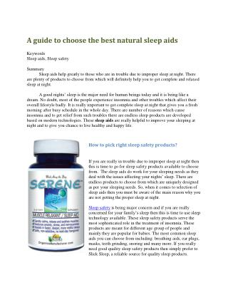 A guide to choose the best natural sleep aids
