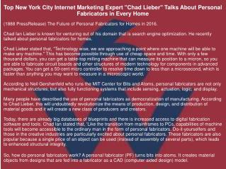 "Top New York City Internet Marketing Expert ""Chad Lieber"" Talks About Personal Fabricators in Every Home"