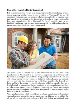 Find a New Home builder in Queensland