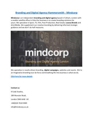 Branding and Digital Agency Hammersmith - Mindcorp