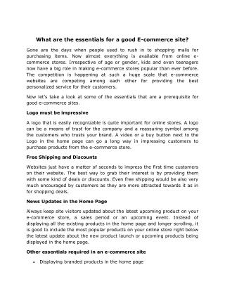 Essential Components of a Successful Ecommerce Website