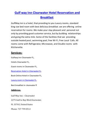 Gulf way Inn Clearwater Hotel Reservation and Breakfast