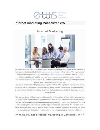 Internet marketing Vancouver WA