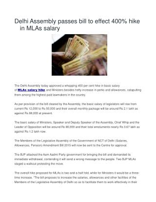 Delhi Assembly passes bill to effect 400% hike in MLAs salary