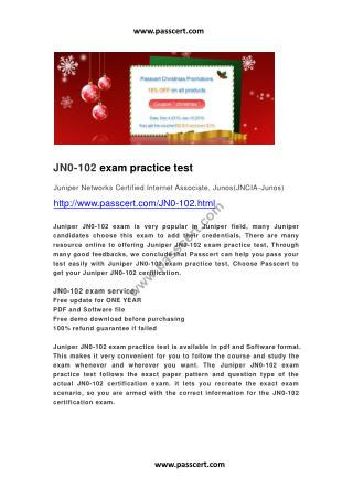 Juniper JN0-102 exam practice test