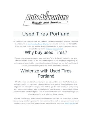 Used Tires Portland