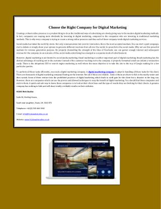Choose the Right Company for Digital Marketing