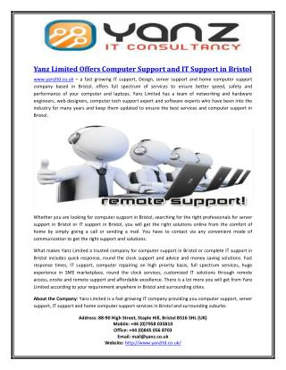 Yanz Limited Offers Computer Support and IT Support in Bristol