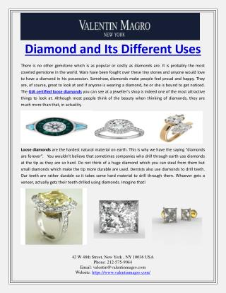 Diamond and Its Different Uses
