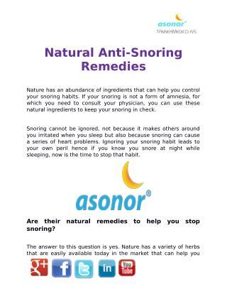 Natural Anti-Snoring Remedies | ASONOR