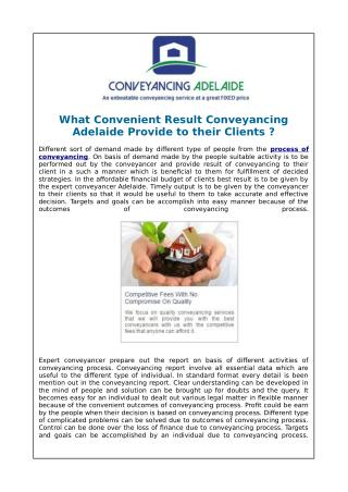 What Convenient Result Conveyancing Adelaide Provide to their Clients ?