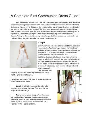 A Complete First Communion Dress Guide