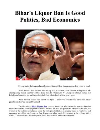 Bihar's Liquor Ban Is Good Politics, Bad Economics