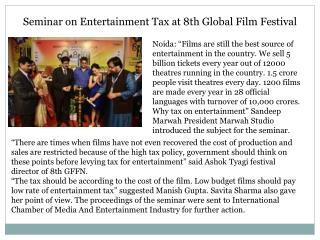 Seminar on Entertainment Tax at 8th Global Film Festival