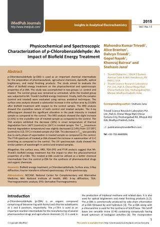 Physicochemical and Spectroscopic Characterzaon of  p -Chlorobenzaldehyde: An Impact of Boield Energy Treatment