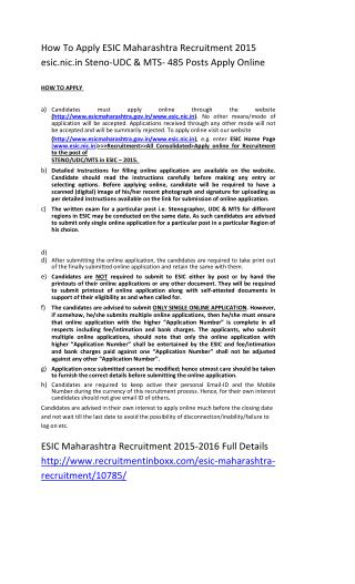 How to Apply ESIC Maharashtra Recruitment 2015 Esic.nic.in Steno-UDC & MTS- 485 Posts Apply Online