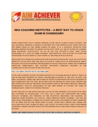 NDA COACHING INSTITUTES � A BEST WAY TO CRACK EXAM IN CHANDIGARH