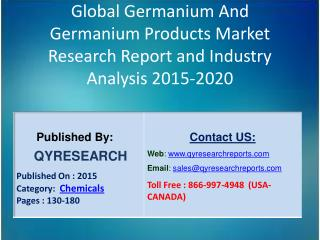 Global Germanium And Germanium Products Market 2015 Industry Growth, Outlook, Development and Analysis