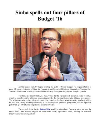 Sinha spells out four pillars of Budget '16