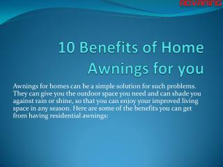 10 Benefits of Home Awnings for you