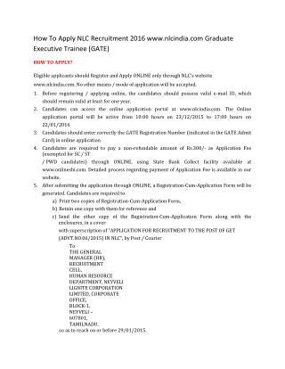 How to Apply NLC Recruitment 2016 Www.nlcindia.com Graduate Executive Trainee (GATE)