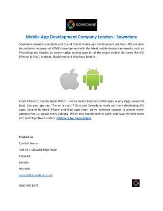Mobile App Development Company London - Sowedane