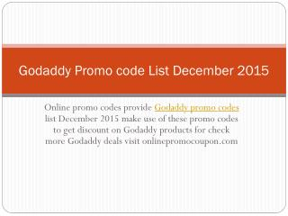 Godaddy Promo Code List December 2015